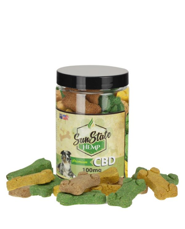 Healthy dogs with CBD treats from Sun State Hemp